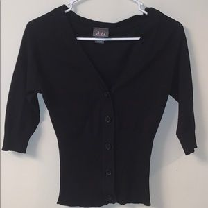 Black fitted waist cardigan